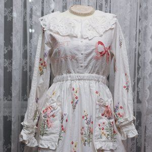 Dear Chestnut - Bow and Floral Embroidered Dress
